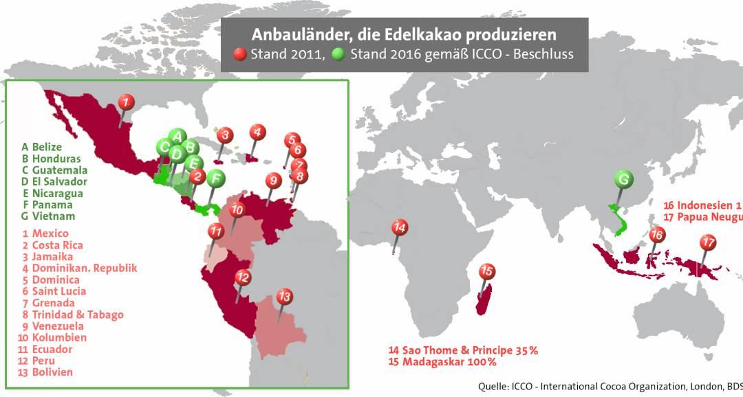 Karte der Anbauländern die Edelkakao produzieren