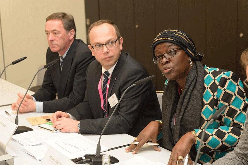 Wolf Kropp-Büttner, Vorstandsvorsitzender des Forums Nachhaltiger Kakao, Dr. Torben Erbrath, BDSI, Massandjé Touré-Litse, Le Conseil du Café-Cacao (CCC), Côte d'Ivoire