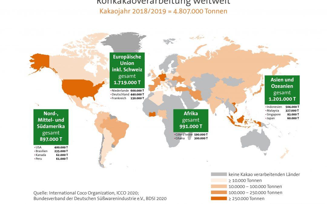 "Infografik ""Rohkakaoverarbeitung weltweit 2019"""